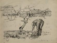 van Gogh, Giardiniere vicino ad un melo | Jardinier près d'un pommier | Gardener by an apple tree