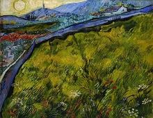 van Gogh, Il campo di grano recintato con sole che sorge | Het ommuurde korenveld met opkomende zon | Enclosed wheat field with rising sun