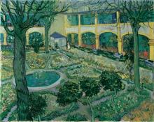 Vincent van Gogh, Il cortile dell'ospedale di Arles   Der Innenhof des Hospitals von Arles   La cour de l'hôpital d'Arles   Courtyard of the hospital at Arles