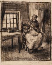 van Gogh, Interno contadino con una donna che lavora a maglia | Intérieur paysan avec une femme tricotant | Peasant interior with a woman knitting