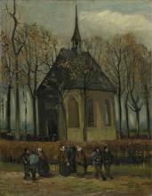 van Gogh, L'uscita dalla chiesa riformata di Nuenen | Het uitgaan van de Hervormde Kerk te Nuenen | La sortie de l'église réformée de Nuenen | Congregation leaving the reformed church in Nuenen