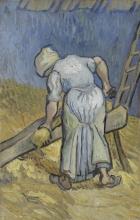 van Gogh, La contadina che maciulla lino (da Millet) | De boerin die vlas kneust (naar Millet) | La paysanne macquant du lin (d'après Millet) | Peasant woman bruising flax (after Millet)