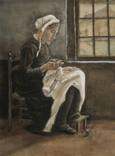 van Gogh, La donna che cuce vicino alla finestra | Die Näherin beim Fenster | Woman sewing by the window, facing right