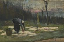 van Gogh, La lavandaia | The laundress | Femme ramassant du linge | Woman spreading out laundry on a field
