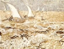 van Gogh, Marina a Les Saintes Maries de la Mer | Zeegezicht te Saintes-Maries-de-la-Mer | Marine aux Saintes-Maries-de-la-Mer | Seascape at Saintes-Maries-de-la-Mer