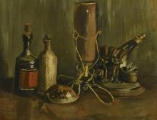 van Gogh, Natura morta con bottiglie, ornamenti da caminetto, conchiglia | Nature morte aux bouteilles, ornements de cheminée, coquillage | Still life with bottles, fireplace ornaments, seashell