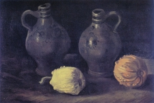 van Gogh, Natura morta con due orci e due zucche | Stilleven met twee kruiken en twee pompoenen | Still life with two jars and two pumpkins