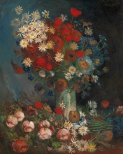 van Gogh, Natura morta con fiori di campo e rose | Nature morte avec fleurs de champ et roses | Stilleven met akkerbloemen en rozen | Still life with meadow flowers and roses