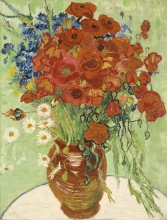 van Gogh, Natura morta, vaso con margherite e papaveri | Nature morte, vase aux marguerites et coquelicots | Still life, vase with daisies and poppies
