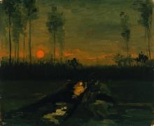 van Gogh, Paesaggio al crepuscolo   Landschap bij avondschemering   Paysage au crépuscule   Landscape at dusk