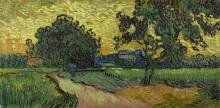 van Gogh, Paesaggio al crepuscolo | Landschap bij avondschemering | Paysage au crépuscule | Landscape at twilight