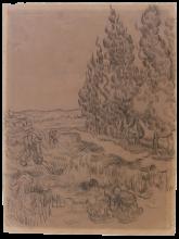 Vincent van Gogh, Paesaggio con cipressi | Paysage avec cyprès | Landschaft mit Zypressen und vier Landarbeitern | Landscape with cypress