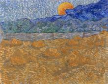 van Gogh, Paesaggio con covoni di grano e luna che sorge | Landschap met korenschelven en opkomende maan | Paysage avec meules de blé et lune levante | Landscape with wheat sheaves and rising moon