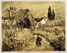 van Gogh, Paesaggio di Auvers (Sentiero tra muri di giardino) | Paysage d'Auvers (Chemin entre murs de jardin) | Auvers landscape (Path between garden walls)