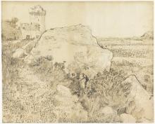 van Gogh, Paesaggio vicino all'abbazia di Montmajour ad Arles | Landschap bij de abdij van Montmajour te Arles | Paysage près de l'abbaye de Montmajour à Arles | Landscape near the Abbey of Montmajour in Arles