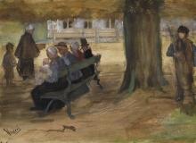 van Gogh, Persone sedute su una panchina nel Bezuidenhout, L'Aia      Mensen zitten op een bankje in Bezuidenhout, Den Haag   Personnes assises sur un banc à Bezuidenhout, La Haye   People sitting on a bench in Bezuidenhout, The Hague