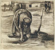 van Gogh, Piantatrice di patate   Planteuse de pommes de terre   Kartoffelpflanzerin   Peasant woman, planting potatoes