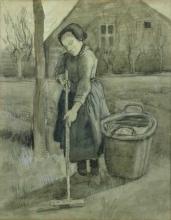 van Gogh, Ragazza in un giardino (Ragazza che rastrella) | Jong meisje in een tuin (Harkend meisje) | Jeune fille dans un jardin (Jeune fille ratissant) | Young girl in a garden (Raking girl)