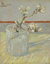 van Gogh, Ramoscello di mandorlo in fiore in un bicchiere | Bloeiend amandeltakje in een glas | Rameau d'amande en fleur dans un verre | Sprig of flowering almond in a glass