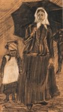 van Gogh, Sien sotto un ombrello con una bambina   Sien sous un parapluie avec une fillette   Sien under an umbrella with a girl