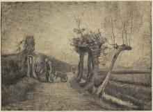 van Gogh, Strada dietro la canonica a Nuenen | Weg achter de pastorietuin te Nuenen | Road behind the parsonage garden in Nuenen