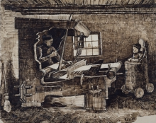van Gogh, Tessitore e bambino in un seggiolone   Wever en baby in een kinderstoel   Tisserand et bébé dans une chaise haute   Weaver, with a baby in a high chair