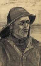 van Gogh, Testa di un pescatore, girato di tre-quarti a destra | Hoofd van een visser, driekwart naar rechts gekeerd | Tête d'un pêcheur, tournée de trois quarts vers la droite | Head of a fisherman, turned three-quarters to the right