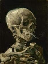van Gogh, Testa di uno scheletro con una sigaretta accesa  | Kop van een skelet met brandende sigaret | Head of a skeleton with a burning cigarette