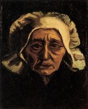 van Gogh, Testa di vecchia contadina con la cuffia bianca | Tête de vieille paysanne en coiffe blanche | Kopf einer alten Bäuerin mit weißer Haube | Head of an old peasant woman with a white cap