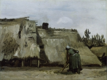 van Gogh, Una contadina che vanga davanti al suo casolare | Une paysanne bêchant devant sa chaumière | A peasant woman digging in front her cottage