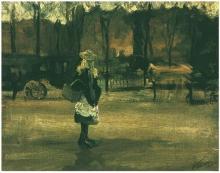 van Gogh, Una ragazza in strada, due carrozze sullo sfondo | A girl in the street, two coaches in the background