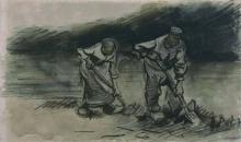 van Gogh, Uomo e donna che zappano | Spittende man en vrouw | Man and woman digging