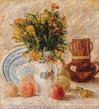 van Gogh, Vaso con fiori, caffettiera e frutta | Vase mit Blumen, Kaffeekanne und Früchte | Vase with flowers, coffeepot and fruit | Vase avec fleurs, cafetière et fruit