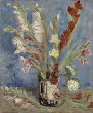 van Gogh, Vaso con gladioli e astri cinesi | Vaas met tuingladiolen en Chinese asters | Vase avec glaïeuls et asters chinois | Vase with gladioli and Chinese asters