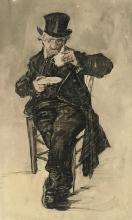 van Gogh, Vecchio con cappello a cilindro che beve una tazza di caffè | Weesman met een top hoed een kopje koffie drinken | Vieillard coiffé d'un chapeau haut de forme buvant une tasse de café | Orphan man with a top hat drinking a cup of coffee