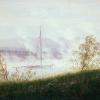 Caspar David Friedrich (Greifswald 1774 – 1840 Dresden): Flussufer im Nebel (Riva di fiume con la nebbia), 1821 circa Olio su tela,  cm. 22 x 33,5, Köln, Wallraf.Richartz-Museum
