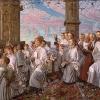 William Holman Hunt (Londra 1827 - Londra 1910): May morgen on Magdalen Tower (Giornata di maggio sulla Magdalen Tower, 1888-91, Olio su tela, 38,8x 48,9, Birmingham Museums and Art Gallery