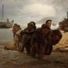 Ilya Efimovich Repin (1844-1930): Battellieri che attraversano un guado, 1872, olio su tela, cm. 62,5 x 98,7, Mosca, Galleria Tretjakov