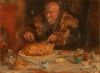 Anna Ancher, Michael Ancher che mangia del petto d'oca (Michael Ancher spiser et gåseskrog), 1920