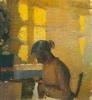 Anna Ancher, Ragazza che cuce in un interno (Syende pige i interiør)