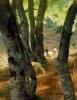 Stefano Bruzzi, Pecore nel bosco (Paesaggio con bosco di betulle) [dettaglio], XIX secolo, Dipinto ad olio, Collezione Guagno-Poma, Museo del Territorio Biellese, Biella