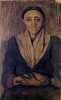 Paula Modersohn-Becker, Sitzende alte Frau (Anziana donna seduta), 1899, Disegno, Carboncino e sanguigna