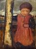 Paula Modersohn-Becker, Kleines Kind neben einem Birkenstamm (Bambino accanto a un tronco di betulla), 1904, Dipinto, Kunstmuseen Krefeld, Deutschland