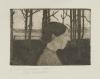 Modersohn-Becker, Bildnis einer Bäuerin (Mädchen mit Nase) [Ritratto di una contadina (Ragazza con naso)], 1900 circa, Acquaforte e acquatinta stampata in nero brunastro, cm.  9,83 x 13,97