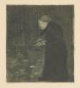 Paula Modersohn-Becker, Blinde Frau im Walde (Klavier spielende Frau) [Donna cieca nel bosco  (Donna che suona il pianoforte)], Puntasecca e acquatinta su carta velina, cm. 44,8 x 31,5 (foglio)