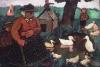 Paula Modersohn-Becker, Sitzende Armenhäuslerin mit Kindern am Ententeich (Donna dell'ospizio dei poveri seduta presso lo stagno delle oche con bambini), 1904 circa, Dipinto, Collezione privata