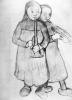 Paula Modersohn-Becker, Zwei Bauernmädchen mit Trumpeten (Due contadinelle con le trombette), 1904 circa, Disegno