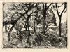 Paula Modersohn-Becker, Landschaft unter Bäumen (Paesaggio sotto gli alberi), 1902 circa, Acquaforte, cm. 9,90 x 14, stampa postuma di Otto Felsing
