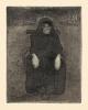 Paula Modersohn-Becker, Sitzende Alte (Vecchia seduta),  Acquatinta su carta, cm. 19,1 x 14,6 (lastra | cm. 41,9 x 32,1 (foglio), stampa postuma