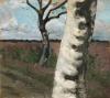 Paula Modersohn-Becker, Birkenstamm vor Heidelandschaft (Tronco di betulla davanti a un paesaggio di brughiera), 1901 circa, Galerie St. Etienne, New York